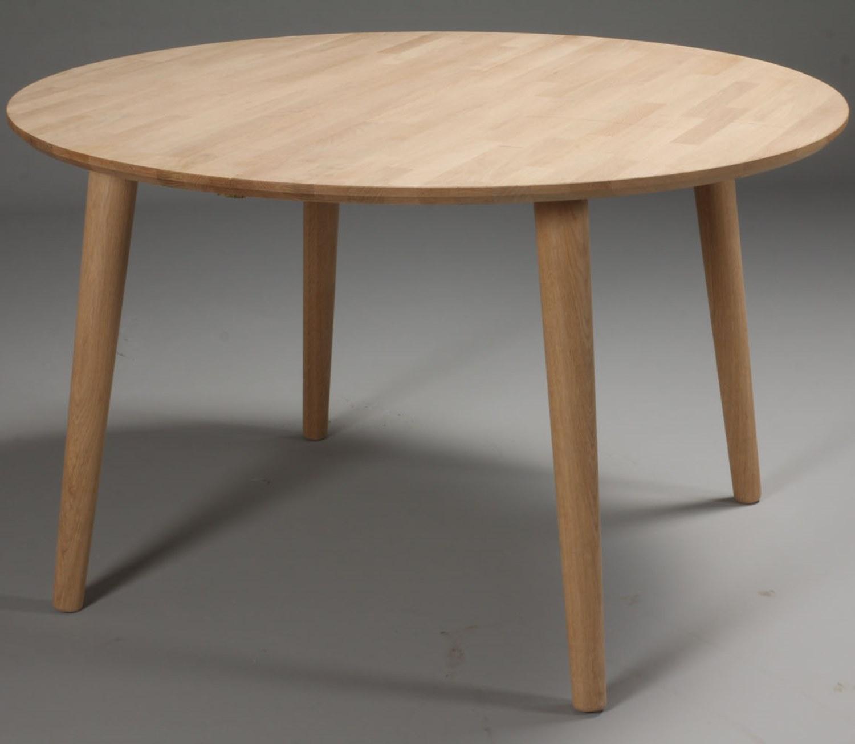 DT 100 - rundt spisebord med 1 tillægsplade, massiv eg, to ...