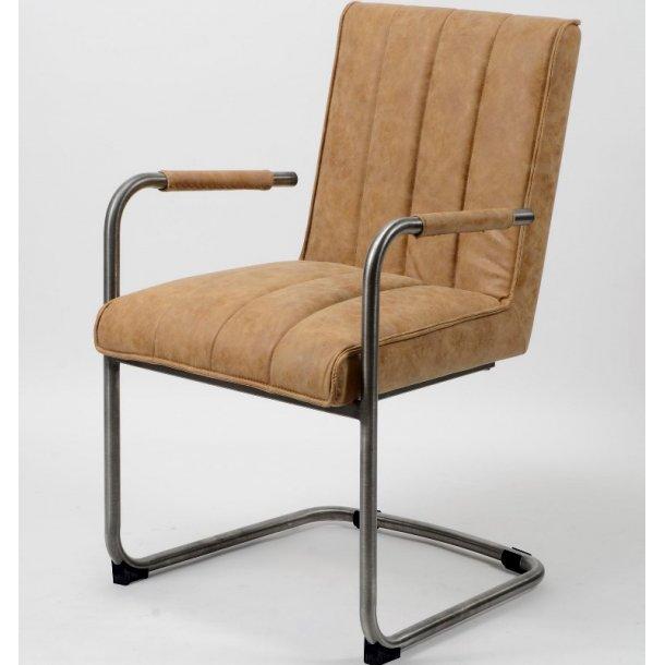 Opdateret Toop - Spisebordsstol i stål og brunt læder - Stole med metalben IG98