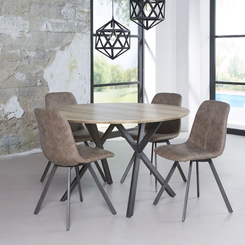 3D - rundt spisebord antik eg look, ø 120 cm. - Spiseborde i laminat ...