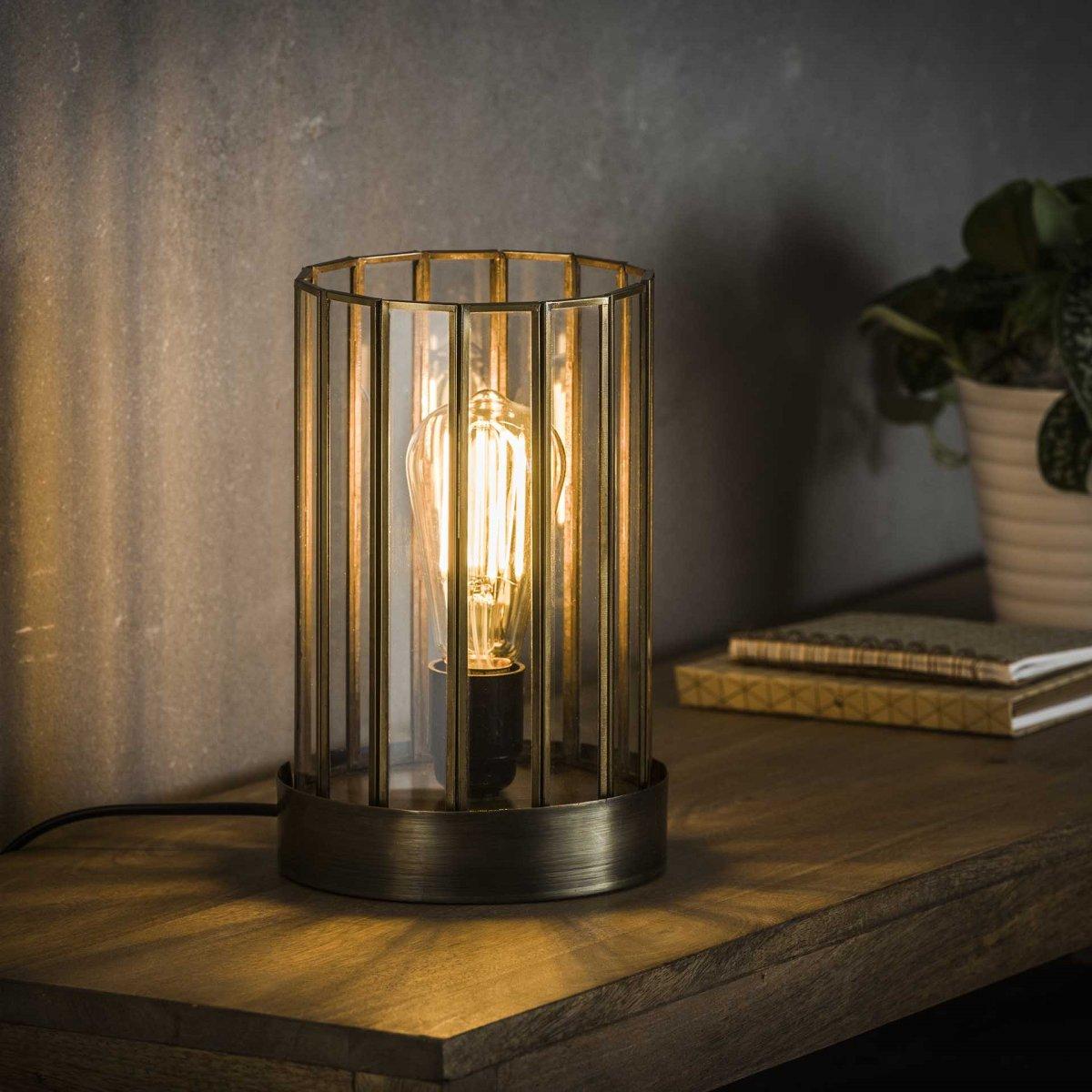 Jail Bordlampe i glas og antik bronce