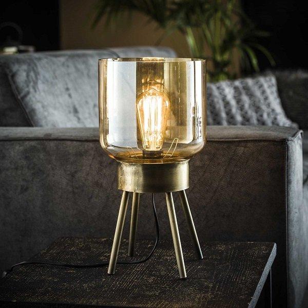 Ambro Flot bordlampe med ravfarvet glas