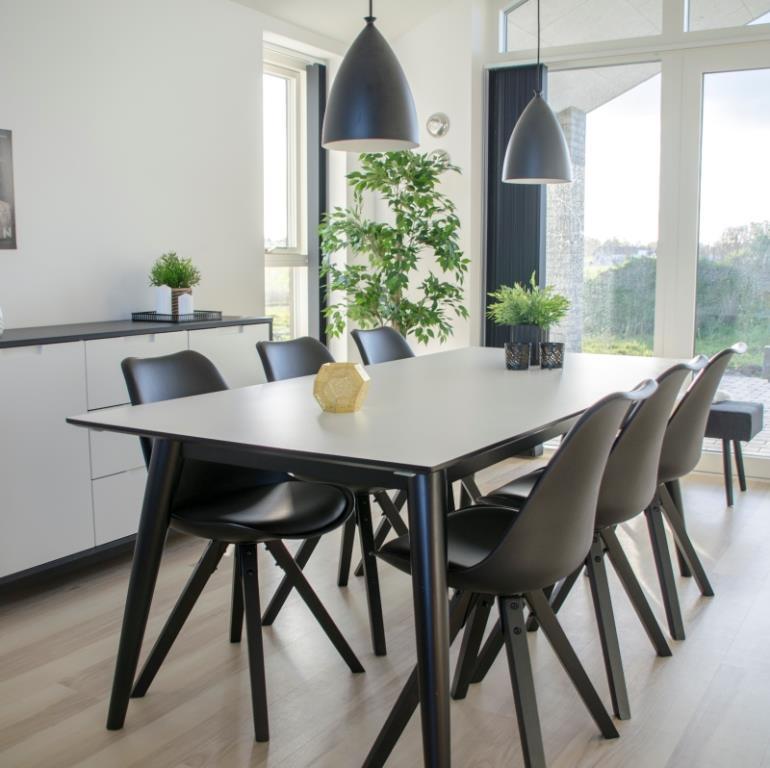 Moderne Cross - Spisebord med tillægsplader i hvid højtrykslaminat og sort II77